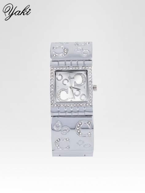 Srebrny prostokątny zegarek damski na brancolecie z cyrkoniami