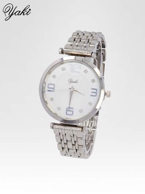 Srebrny zegarek damski na bransolecie z dużą białą tarczą                                  zdj.                                  2