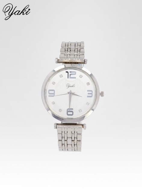 Srebrny zegarek damski na bransolecie z dużą białą tarczą                                  zdj.                                  1