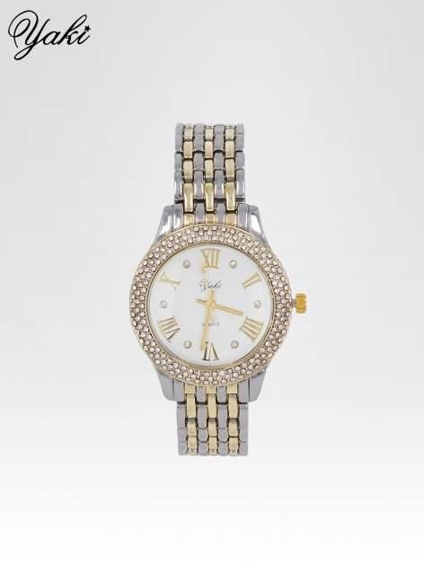 Srebrny zegarek na bransolecie z cyrkoniami wokół koperty