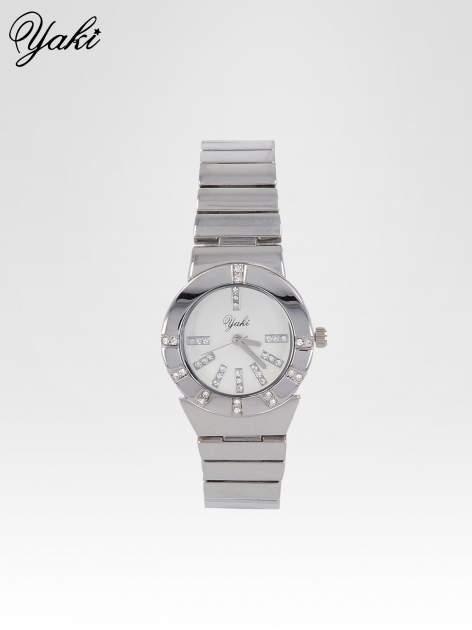 Srebrny zegarek na bransolecie z okrągłą tarczą z cyrkoniami