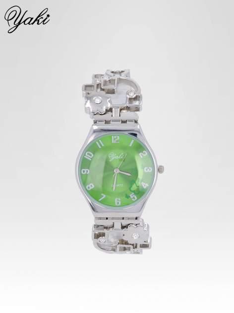 Srebrny zegarek na brasolecie z motywem kwiatowym