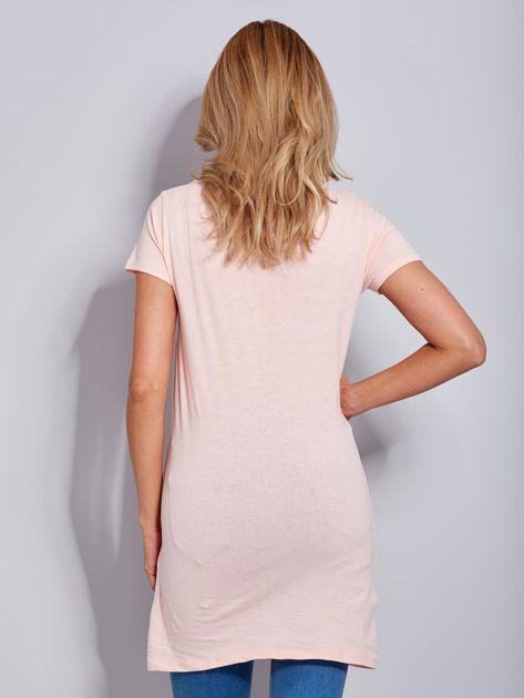 Sukienka bawełniana brzoskwiniowa z nadrukiem parasola                              zdj.                              2