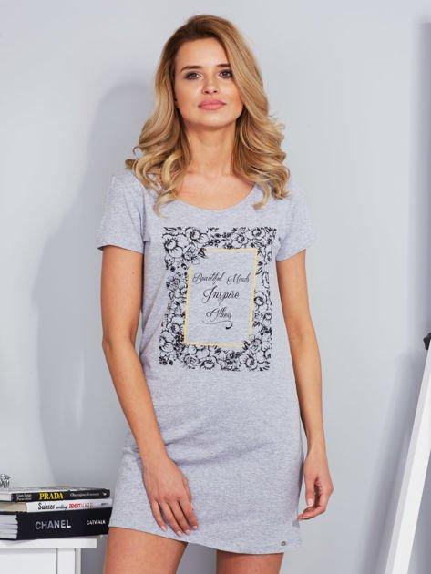 Sukienka bawełniana z kwiatowym nadrukiem jasnoszara                                  zdj.                                  1