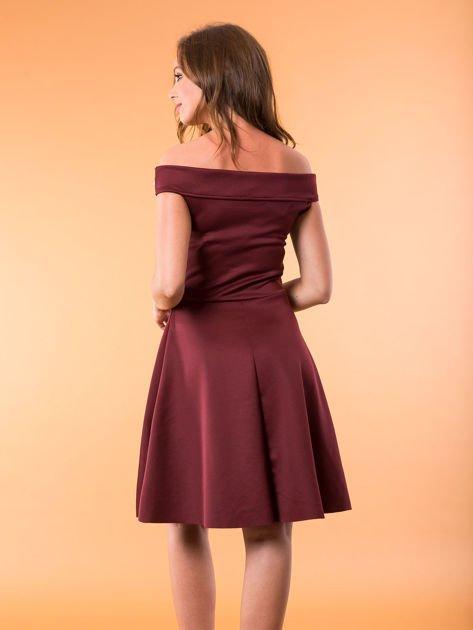 Sukienka bordowa z perełkami                              zdj.                              2