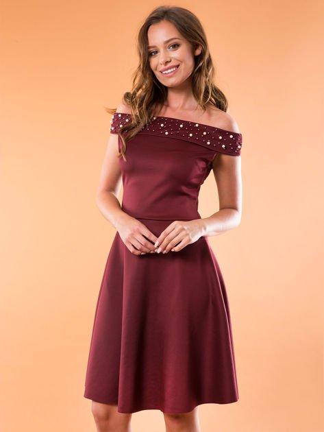 Sukienka bordowa z perełkami                              zdj.                              5