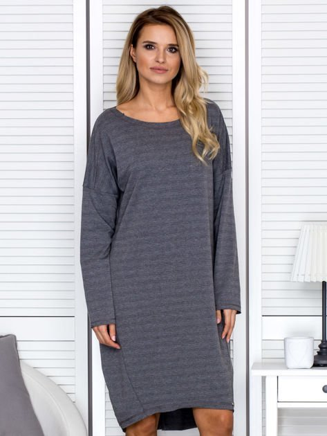 Sukienka damska dresowa o luźnym kroju ciemnoszara                              zdj.                              1