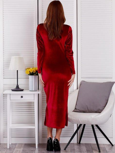 Sukienka damska welurowa maxi bordowa                                  zdj.                                  2