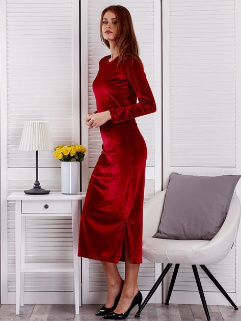 Sukienka damska welurowa maxi bordowa                              zdj.                              3