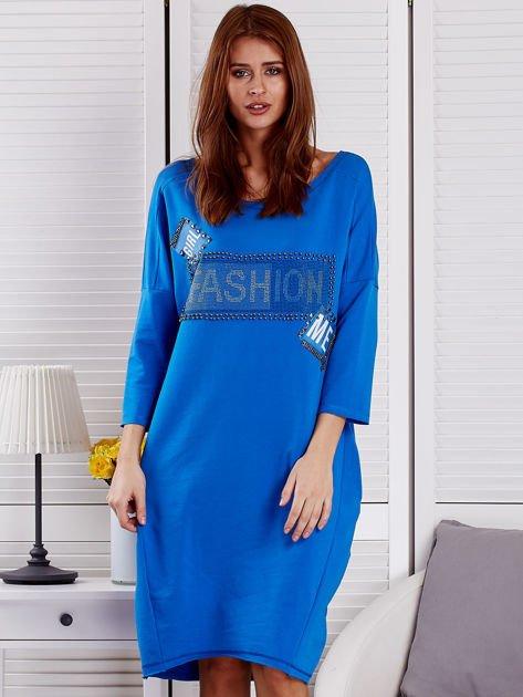 Sukienka damska z napisem z dżetów niebieska                              zdj.                              1