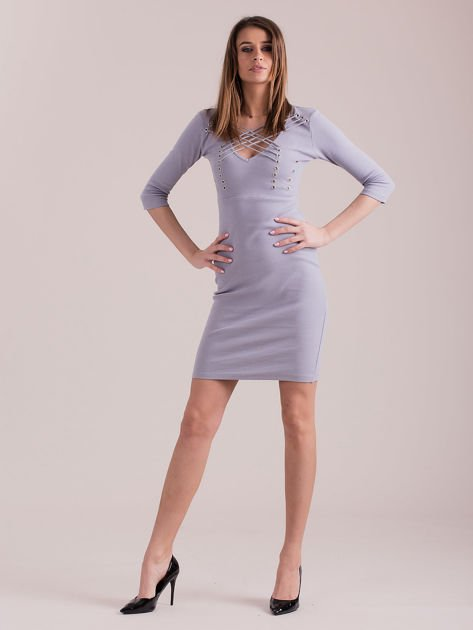 Sukienka jasnoszara ze sznurowaniem i kółeczkami                               zdj.                              1