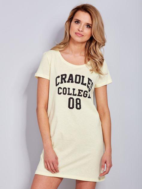 Sukienka jasnożółta bawełniana z napisem COLLEGE                              zdj.                              2