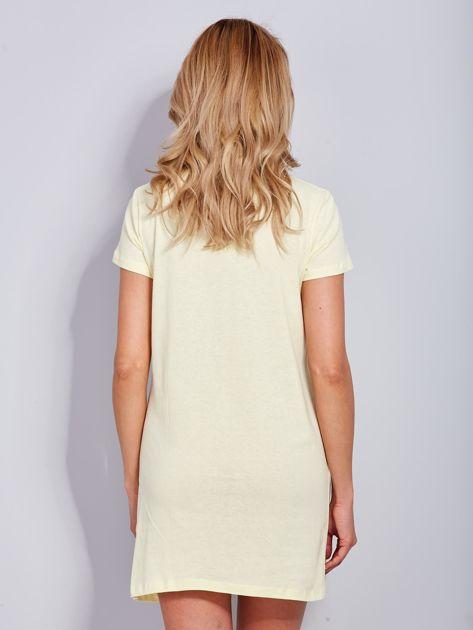 Sukienka jasnożółta bawełniana z napisem COLLEGE                              zdj.                              3
