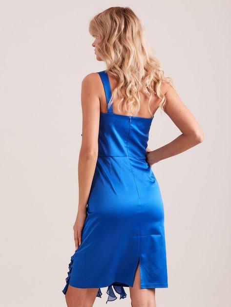 Sukienka koktajlowa na jedno ramię kobaltowa                              zdj.                              3