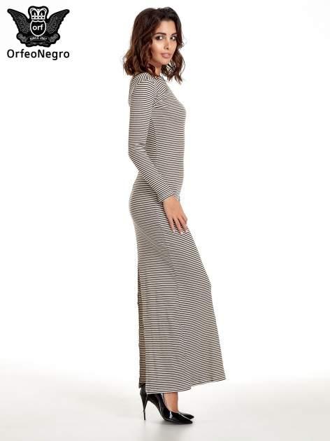 Sukienka maxi w biało-brązowe paski z dekoltem na plecach                                  zdj.                                  3