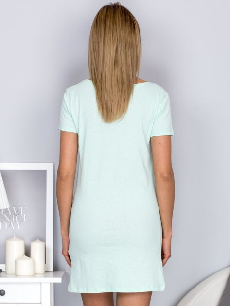 Sukienka miętowa bawełniana z miłosnym nadrukiem                              zdj.                              2