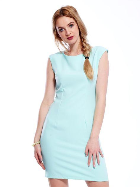 Sukienka miętowa z wiązaniem z tyłu                              zdj.                              1