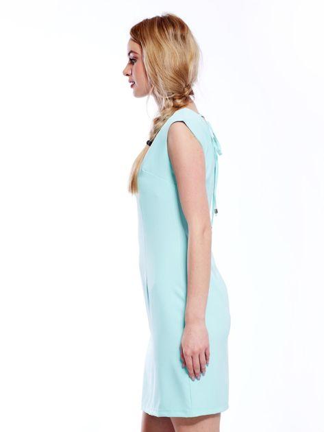 Sukienka miętowa z wiązaniem z tyłu                              zdj.                              3