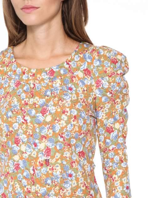 Sukienka w łączkę z marszczonymi rękawkami                                  zdj.                                  6