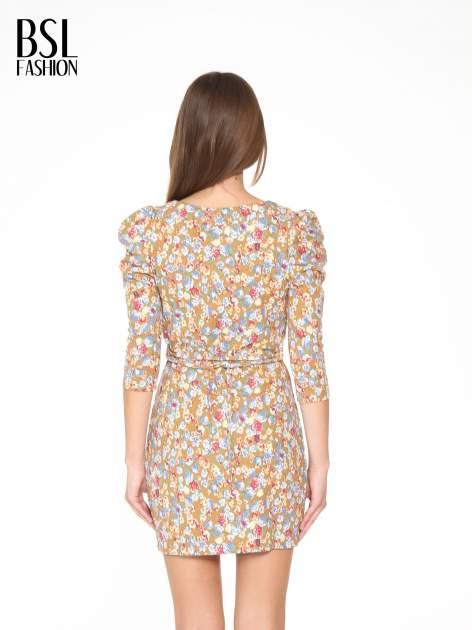 Sukienka w łączkę z marszczonymi rękawkami                                  zdj.                                  4