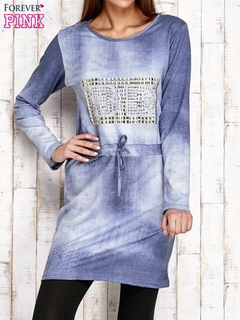 Sukienka z aplikacją i troczkami jasnoniebieska                                  zdj.                                  1
