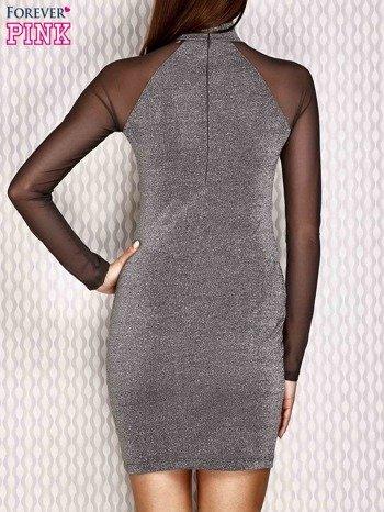 Sukienka z siateczkowymi rękawami srebrna