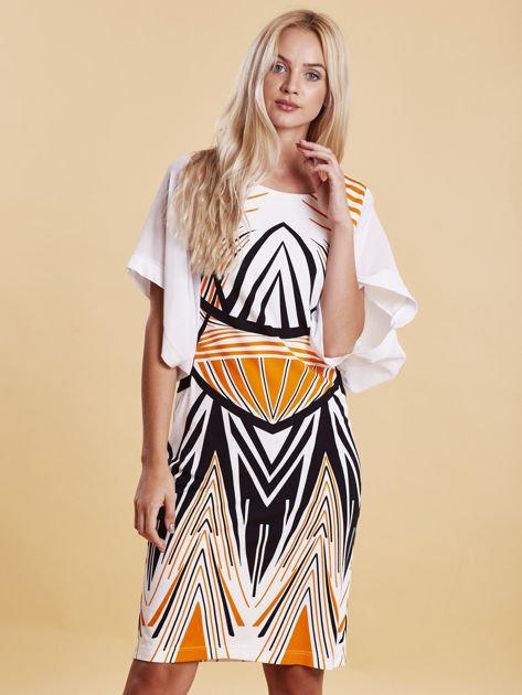 Sukienka z symetrycznym nadrukiem pomarańczowa                                  zdj.                                  3
