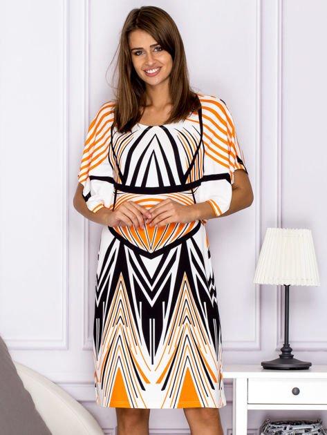 Sukienka z symetrycznym wzorem pomarańczowa                                  zdj.                                  1
