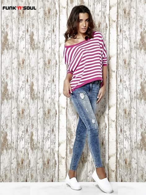 Sweter z dłuższym tyłem w biało-różowe paski Funk n Soul                                  zdj.                                  2