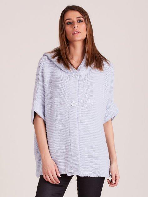 Sweter z kapturem i guzikami niebieski                              zdj.                              1