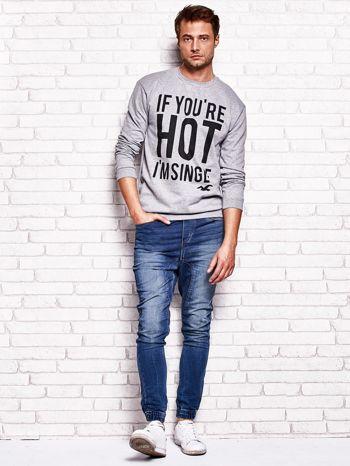 Szara bluza męska z napisem IF YOU'RE HOT I'M SINGLE                              zdj.                              4