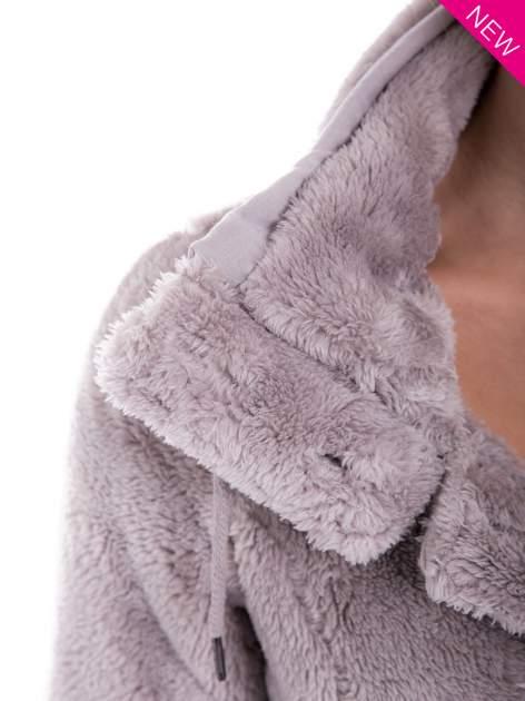 Szara bluza pluszowa z wysokim kołnierzem                                  zdj.                                  11