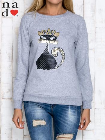 Szara bluza z cekinowym kotem                                  zdj.                                  1