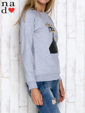 Szara bluza z cekinowym kotem                                  zdj.                                  3