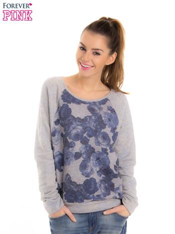 Szara bluza z floral printem i reglanowymi rękawami                                  zdj.                                  1