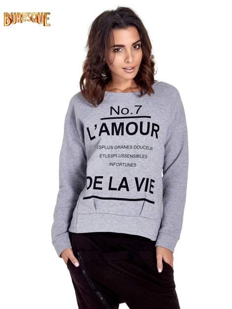 Szara bluza z francuskim napisem NO. 7 L'AMOUR