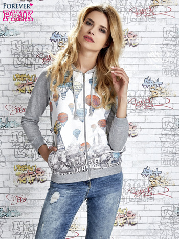 Szara bluza z kapturem i miejskim nadrukiem                                   zdj.                                  5