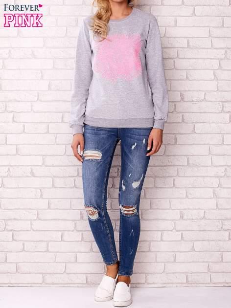 Szara bluza z kolorowym nadrukiem                                  zdj.                                  2