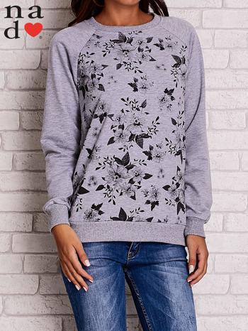 Szara bluza z kwiatowym nadrukiem