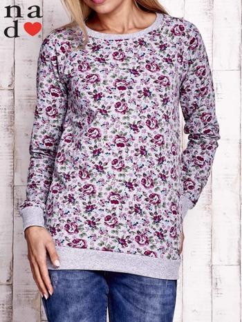 Szara bluza z kwiatowymi motywami