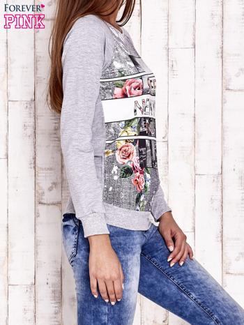 Szara bluza z miejskim nadrukiem                                  zdj.                                  3