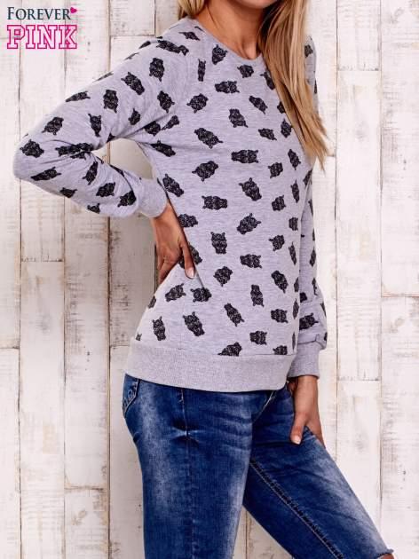 Szara bluza z motywem sów                                  zdj.                                  3