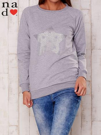 Szara bluza z nadrukiem gwiazdy