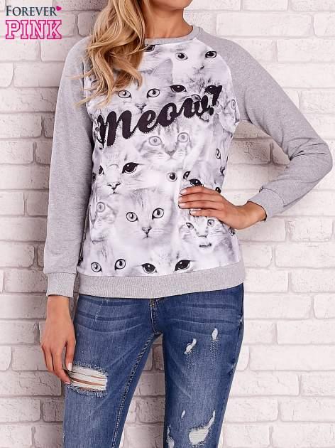 Szara bluza z nadrukiem kotów i napisem                                  zdj.                                  1