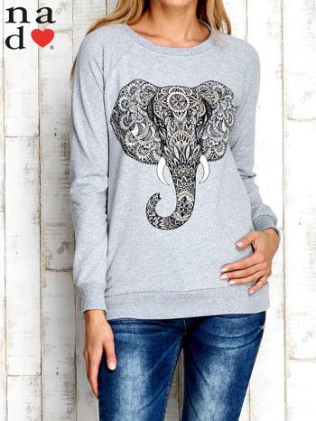 Szara bluza z nadrukiem słonia                                  zdj.                                  2