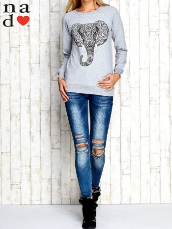 Szara bluza z nadrukiem słonia                                  zdj.                                  3