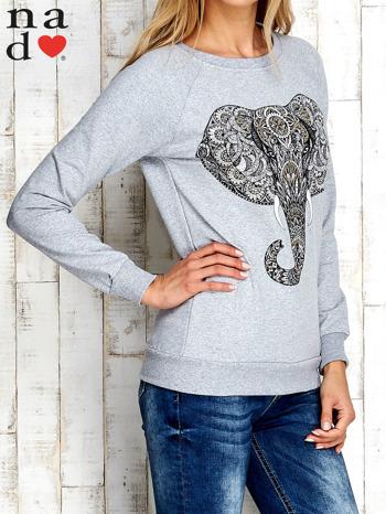 Szara bluza z nadrukiem słonia                                  zdj.                                  4