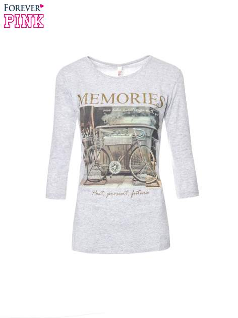 Szara bluzka z złotym brokatowym napisem MEMORIES                                  zdj.                                  5
