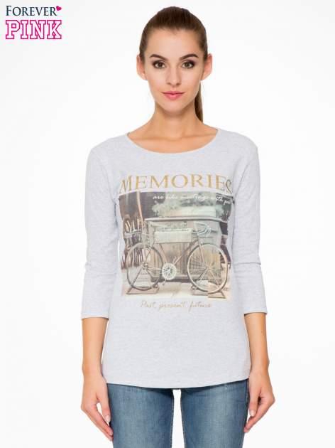 Szara bluzka z złotym brokatowym napisem MEMORIES