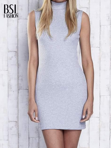 Szara dopasowana sukienka z golfem                                  zdj.                                  1